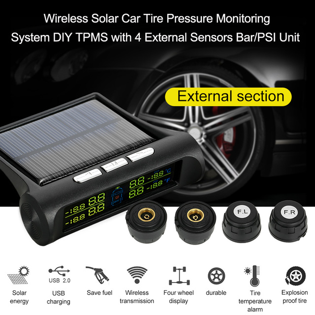 Psi Tire Pressure >> Us 39 85 48 Off Wireless Solar Car Tire Pressure Monitoring System Diy Tpms With 4 External Sensors Bar Psi Unit In Tire Pressure Alarm From