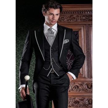2017 Custom Made Italian Stylish Men Suit (Jacket+Pants+Vest) Prom Wedding Suits For Men Tuxedo Groomsmen Costume Marriage Homme