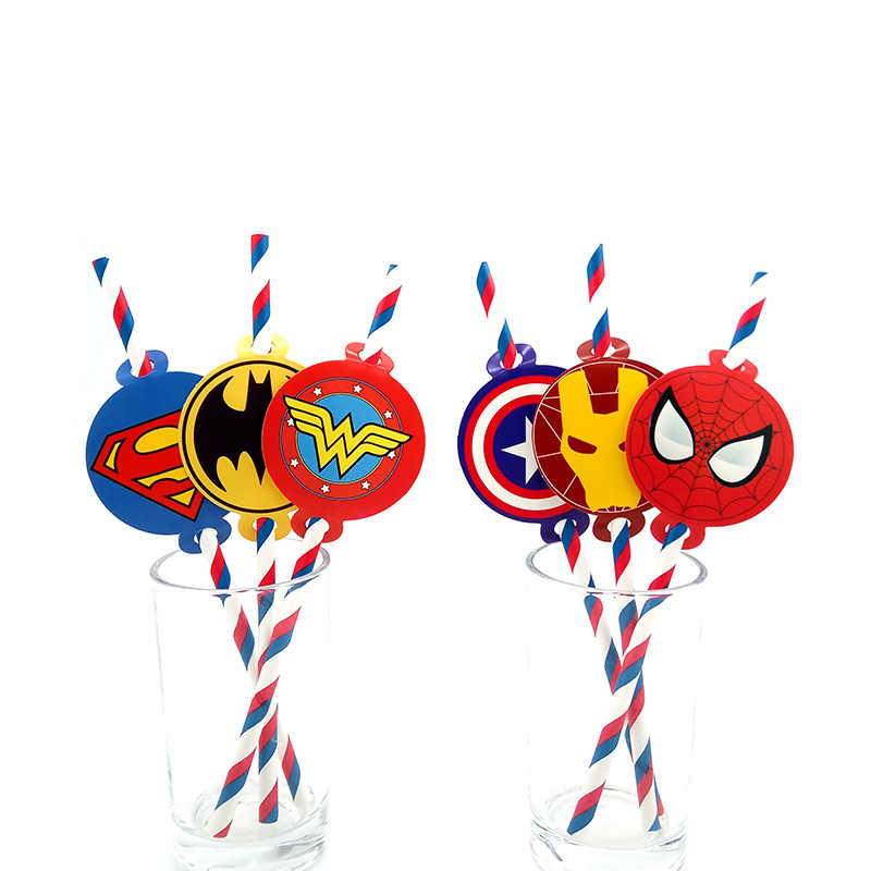 Party supplies 12pcs Super Hero Justice League Avengers theme straws party deco biodegradable paper straw tube eco friendly