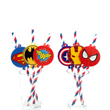 Party supplies 12 pcs Super Hero Justice League Avengers theme หลอด party deco กระดาษฟางหลอด eco friendly(China)