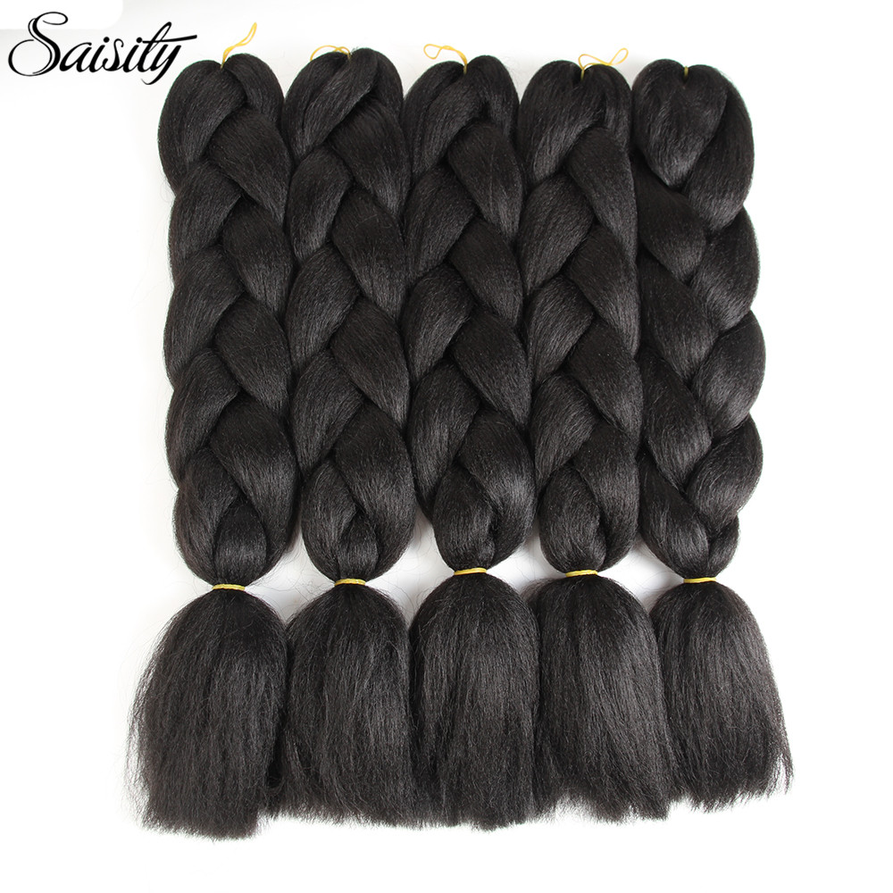 Saisity xpressions kanekalon braiding hair jumbo braids hair extension synthetic ombre hair extensions 100g/pack 24inch black
