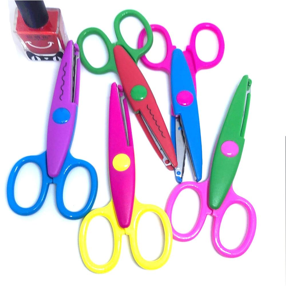1pcs Laciness Scissors Metal And Plastic DIY Scrapbooking Photo Colors Scissors Paper Lace Diary Decoration With 5 Patterns