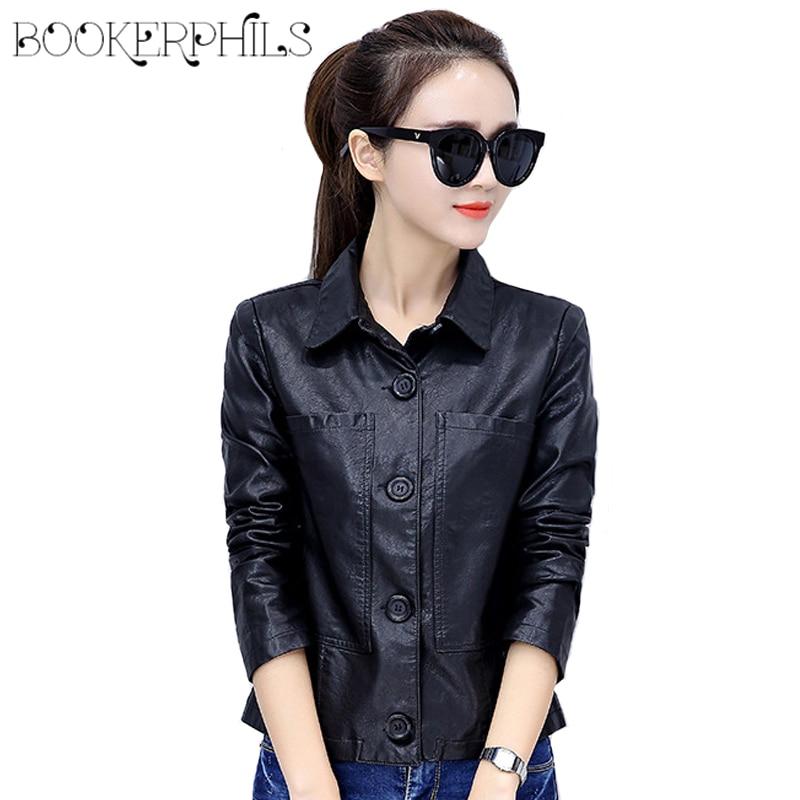 2019 Soft Pu   Leather   Jacket Plus Size Turn Down Collar Short Women's Jackets Spring Autumn Zipper Outerwear Women's Coats M-4XL
