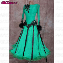 Ballroom Dancing Dress longsleeve backless feather Ribbon Woman Modern Waltz Tango Dance Dress/standard Costume