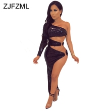 6bed49cd7fb Sparkly Sequined Sexy Bodycon Maxi Dress For Women One Shoulder Long Sleeve  Nightclub Party Dress Waist