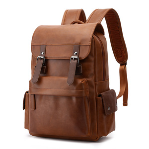 """Image 3 - Travel Laptop Men Backpack Business PU Leather Bag for 14"""" Computer Water Resistant School College Backpacks Male Zipper Solid"""