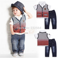 Retail 2015 Kids new summer in Europe and America Boys clothing Sets Handsome boy Gradient stripes vest + shirt + jeans 3 sets