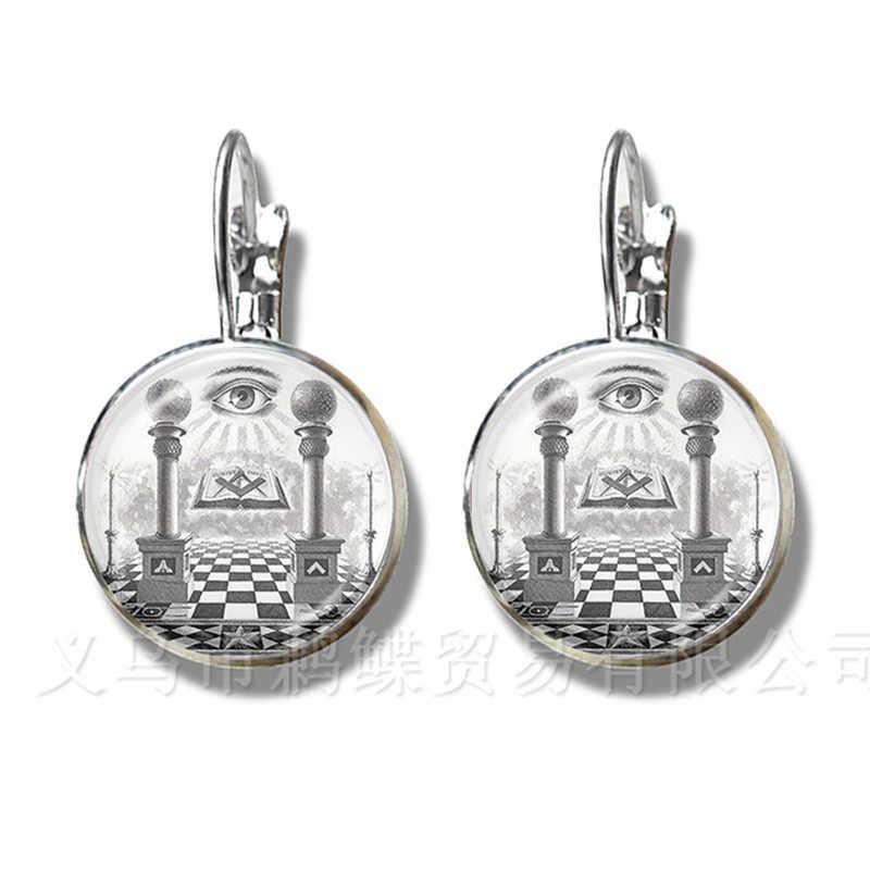 16mm Ganesha Buddha Elephant Glass Dome Earrings Handmade Women Girls Silver Plated Stud Earrings Creative Souvenir For Gift