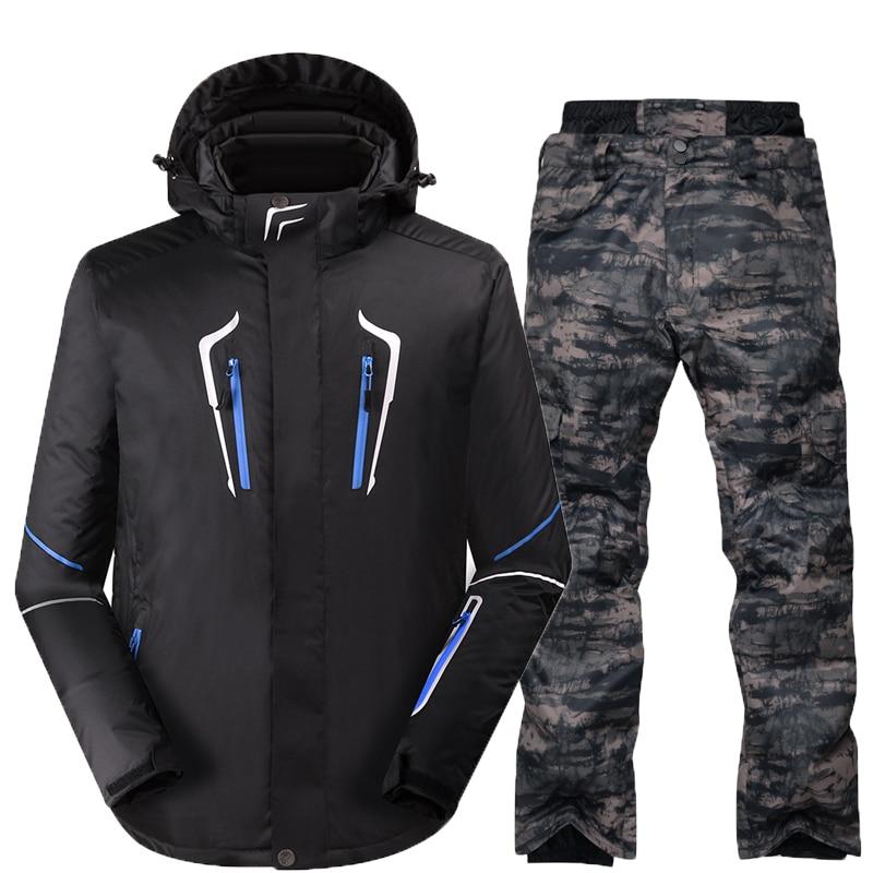 Combinaison de Ski Mâle Coupe-Vent Imperméable Épaissir Neige Vêtements Pour hommes Snowboard Veste Pantalon Costume D'hiver Ski Manteau Pantalon - 4
