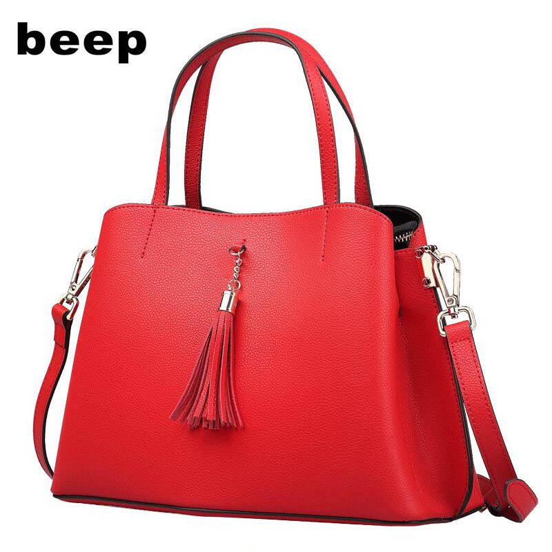 Beep 2018 new wave Korean version of the wild Messenger bag Leather ladies large capacity shoulder tote bag 2018 new female bag korean version of the striped shoulder messenger bag small fashion handbags ladies wrist bag