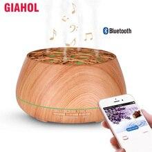 400 ml בצבע עץ קולי ארומה חיוני שמן מפזר עם Bluetooth אלחוטי מוסיקה רמקול טיימר ארומתרפיה אוויר אדים
