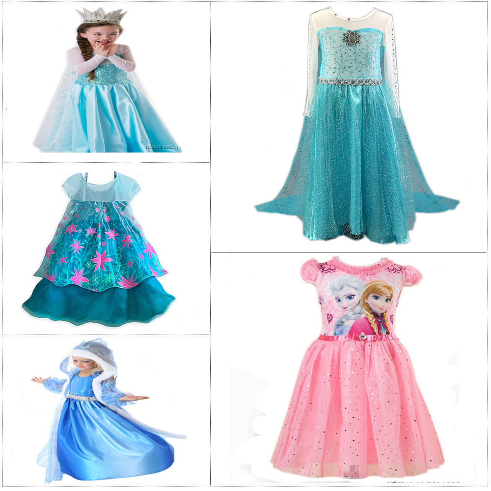 Multicolor Brand Costume Anna Elsa Dress For Baby Girl Wedding Princess Dresses Cosplay Kids Elza Princesss Vestidos Party Cloth high quality fashion kids girls dresses elsa frosset dress costume princess anna party dresses for wedding vestidos kid 2 8 year