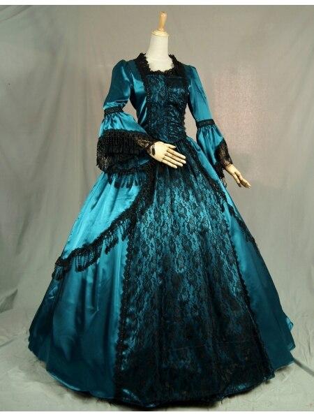 Синие Бальные платья в викторианском стиле с черным кружевом - Цвет: Многоцветный