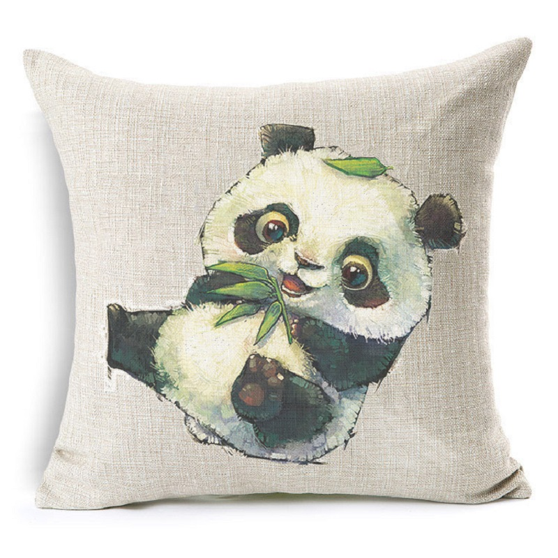 Cute Animal Cat Dog Panda Decorative Cushion Cover Cotton Linen Cushion Decorative Pillow Cace ...