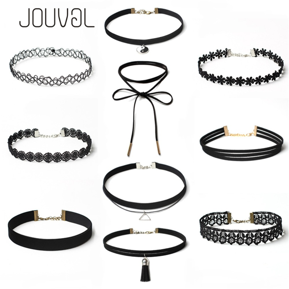 JOUVAL Sets Halsreifen Sexy Gothic Punk Velvet Tattoo Spitze Gold Tube Triangle Choker Halskette Frauen Chocker Choker Set