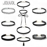 JOUVAL Sets Chokers Sexy Gothic Punk Velvet Tattoo Lace Gold Tube Triangle Choker Necklace Women Chocker Choker Set