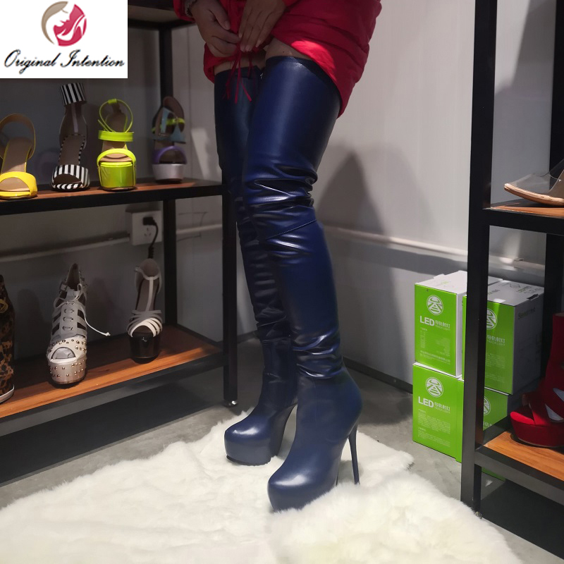 Original Intention Sexy Women Over the Knee Boots Round Toe Platform High Heels Thigh High Boots Blue Shoes Woman Big Size 4-20