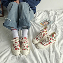 Women's Shoes New Fashion Women Canvas Shoes Printed Casual Breathable Cute Strawberry Women Casual Shoes Fashion Sneakers