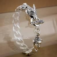 10 длины 925 серебро ручной дракон Модные мужские Байкер Браслет 8F002