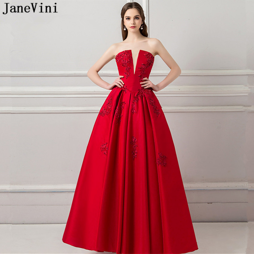 JaneVini 2019 Charming Red A Line Long   Bridesmaid     Dresses   Strapless Lace Appliques Beaded Backless Satin Women Prom Party Gowns