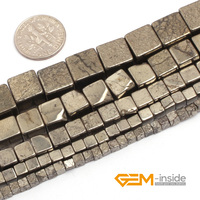 Cubic Silver Gray Pyrite Beads Natural Stone Bead DIY Bead For Jewelry Making Strand 15 Free