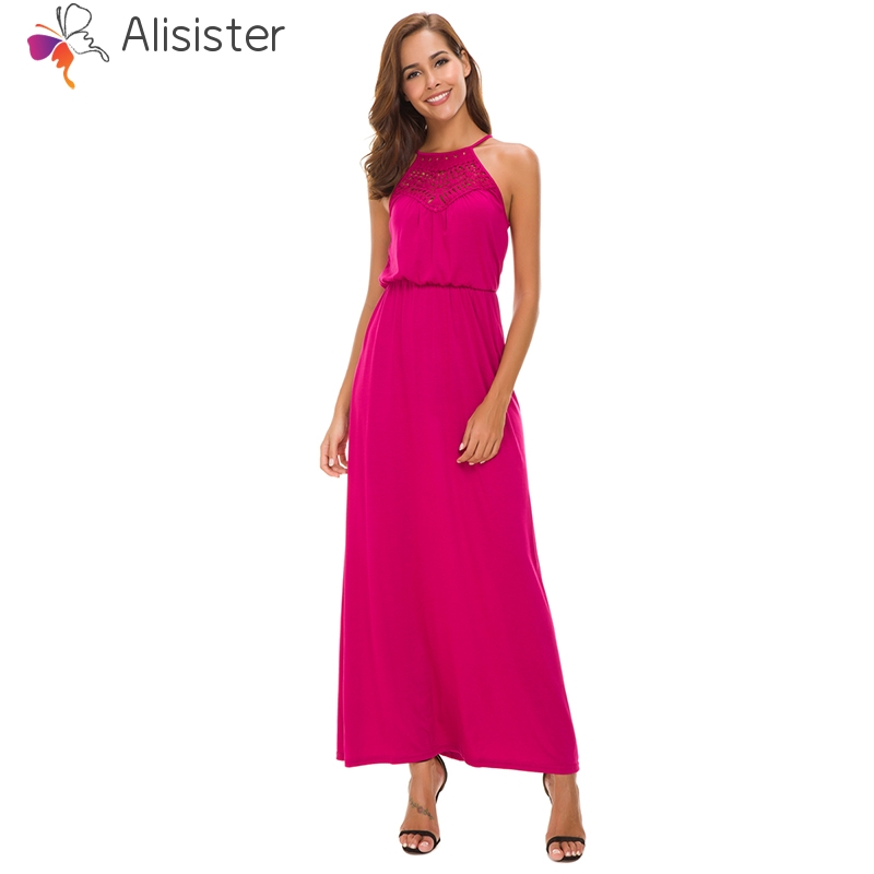 40c62024ae 2019 New Western Style Lace Patchwork Dress Women Elegant Halter Backless  Maxi Dresses Solid Color Evening Party Long Vestidos-in Dresses from  Women's ...