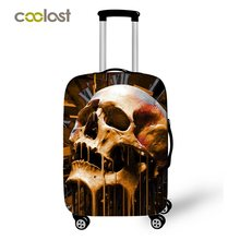 Cool Skull Suitcase Cover Hipster Dust-proof Luggages Protective Cover Fire Angel Skull Suitcase Protector Travel Accessories(China)