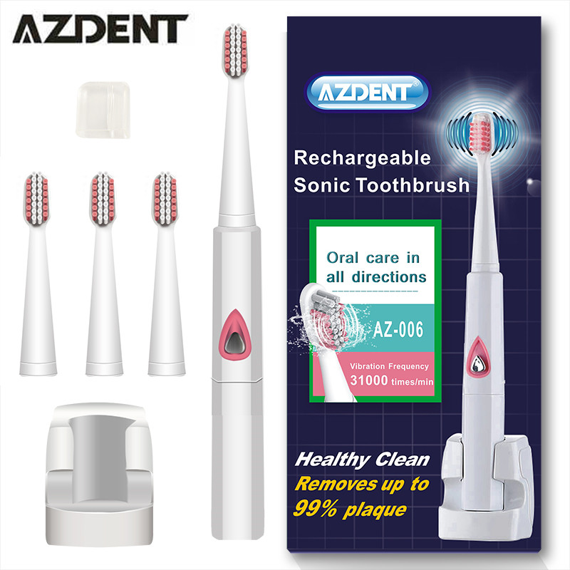 2017 AZDENT Wireless Charge Sonic Electric Toothbrush Ultrasonic Rechargeable Electric Tooth Brush Teeth Brush 4 Brush Heads liangxing multi wireless charge ultrasonic sonic electric tooth brushsets oral whitening teeth brush adults electric toothbrush