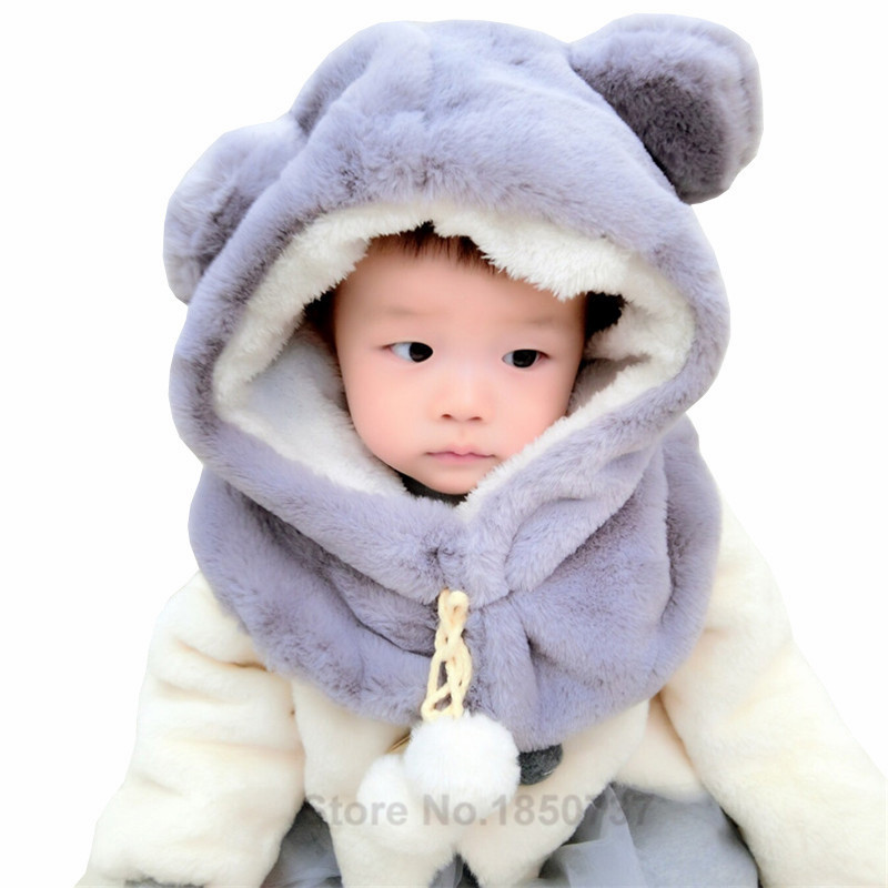 New Fashion Winter Baby Hat with Hood Scarf Cute Bear Ear Ball Warm Plush Kids Baby Hat Cap for Boys and Girls Children Hat in Hats Caps from Mother Kids