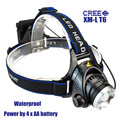 Outdoor LED Headlamp 1800 Lumens CREE XM-L T6 Zoomable Lantern Camping Headlight Waterproof Flashlight Lamp 3-Mode Power By 4*AA