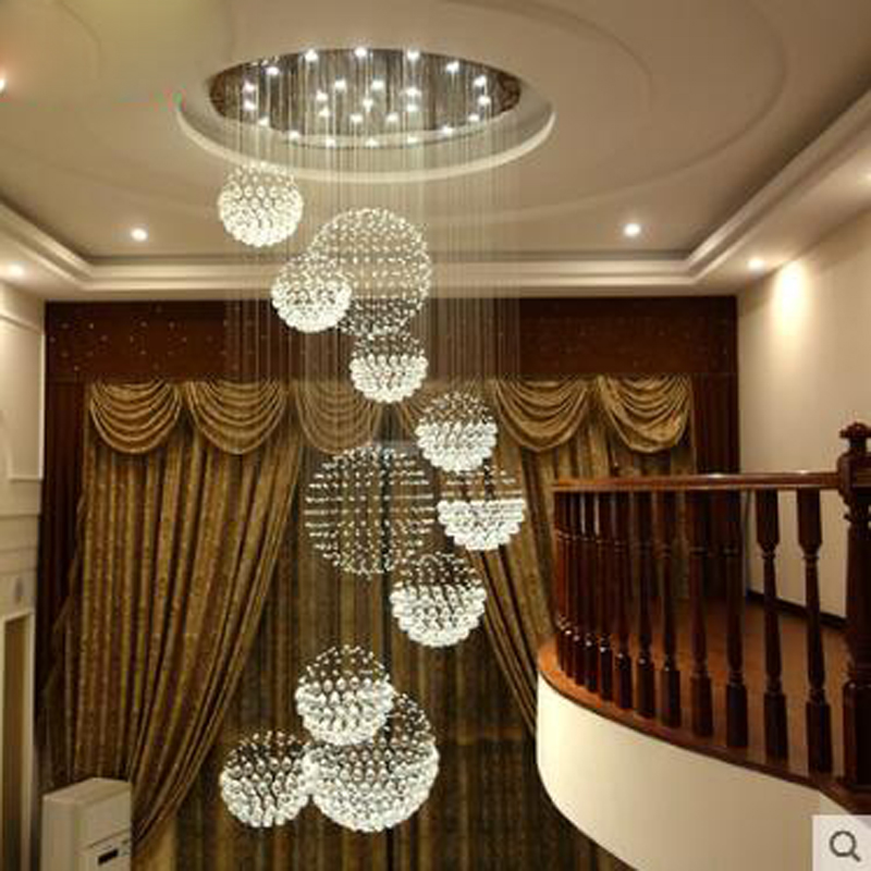 Crystal chandelier round chandelier in rotating villa duplex stairwell chandelier LED lighting fixture led home crystal