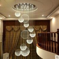 Хрустальная люстра круглая люстра в вращающейся Вилла Дуплекс лестница ЖК освещение люстр светильник светодиодный домашний кристалл ламп