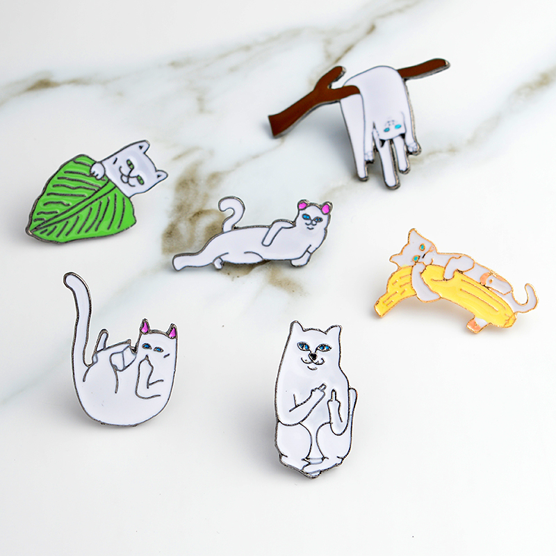 Middle Finger Cat Funny Cat Enamel Pins Hard Enamel Lapel Pins Badges Brooches Cat Pins Backpack Hats Accessories