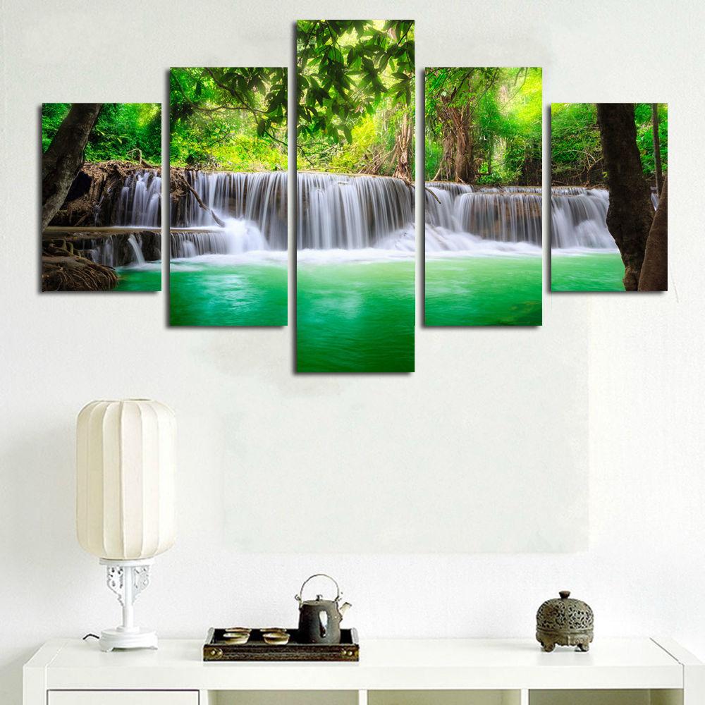BANMU 5 Panel Air Terjun Lukisan Kanvas Gambar Seni Dinding Dekorasi - Dekorasi rumah - Foto 4