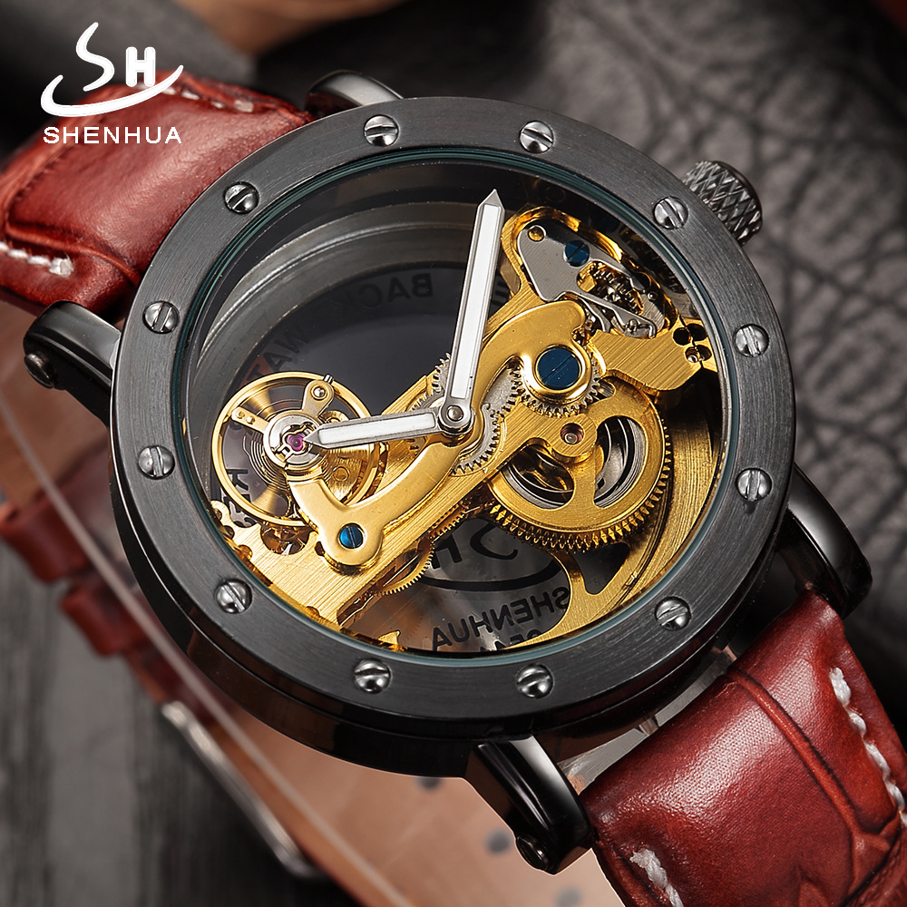 Fashion Transparent Hollow Automatic Mechanical Watches Top Brand Luxury Watch Men Skeleton Self Wind Leather Men's WristWatches original binger mans automatic mechanical wrist watch date display watch self wind steel with gold wheel watches new luxury