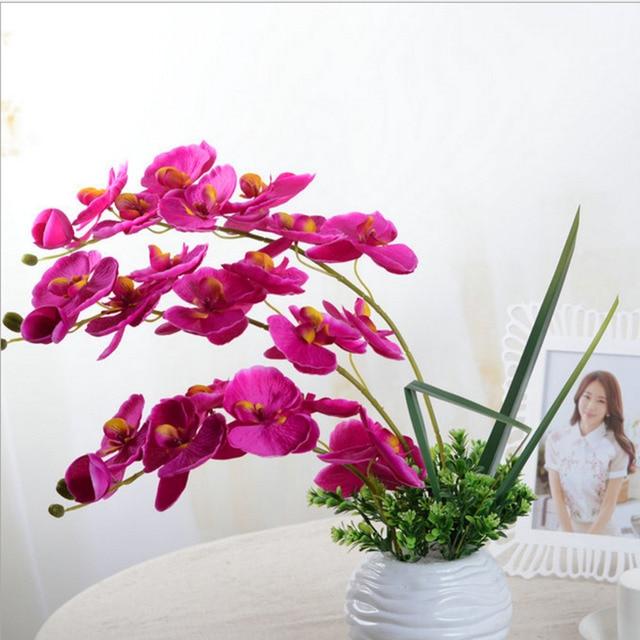 Fashion DIY Artificial Butterfly Orchid Silk Flower Bouquet ...