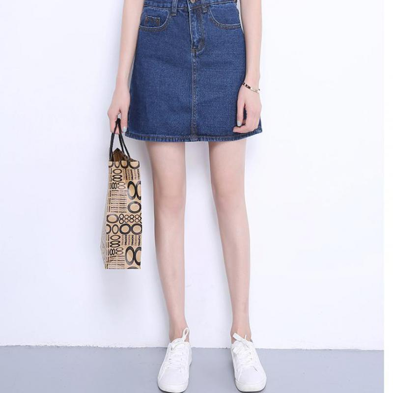 2017 New arrival Denim Skirt Women Spring Autumn Vintage Casual Female A-line Jeans Ladies Office Mini Skirt Plus Size l-3xl