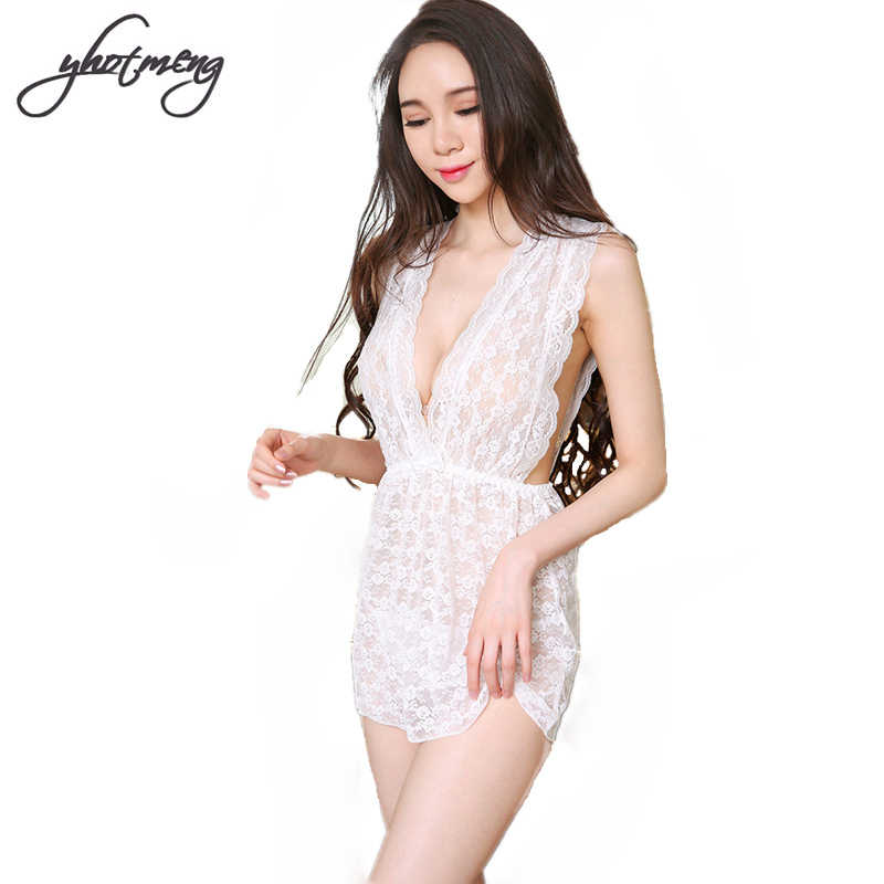 Yhotmeng Fashion sexy lingerie sexy deep V halter neck lace nightgown  pajamas thin transparent extreme temptation 9408c3148