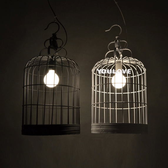 Pastoral Bird Cage Pendnat Lights Fixture Modern Birdcage Hanging Lamps  White/Black Home Balcony Dining Room Foyer Droplight In Pendant Lights From  Lights ...