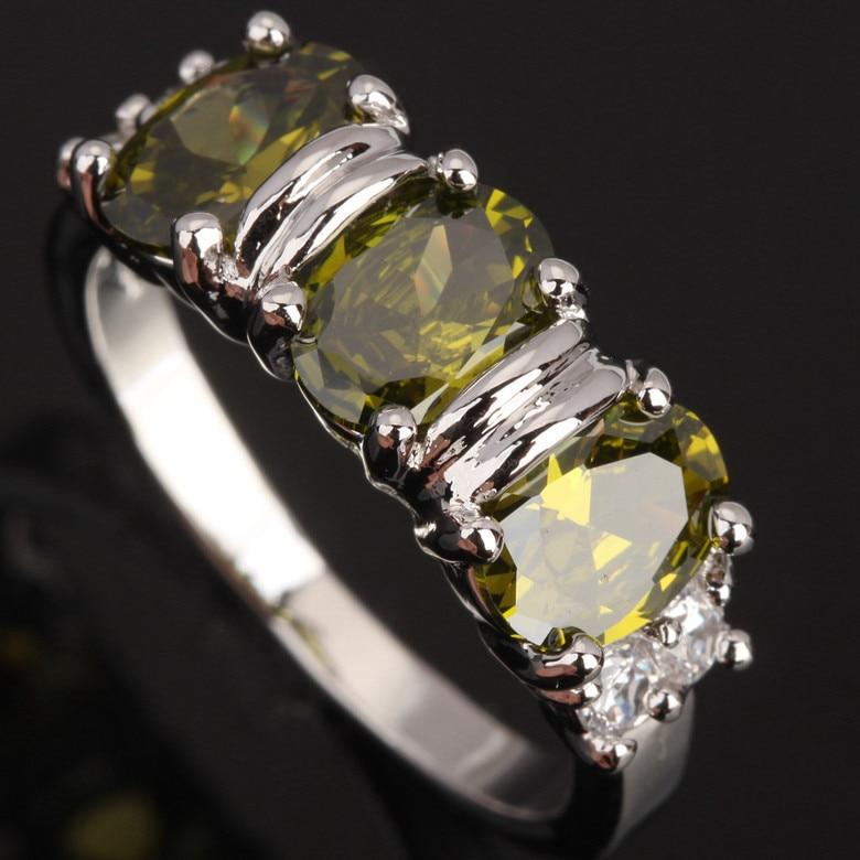 Breathtaking 3 pcs Oval Eggform Green Peridot 925 Sterling Silver Womens Party Jewelry Sale Size 6 7 8 / 9 S0684