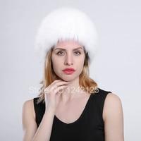 New women Russia winter fox fur hat Parent child kids children real fox fur hat girl boy warm knitting fox hat elastic hat caps