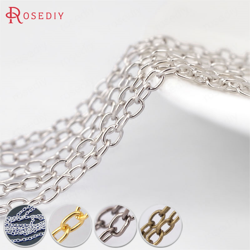 (21052)5 Meters Width:1.6MM Iron Round Oval Shape Link Chains Necklace Chains Diy Jewelry Findings Jewelry Accessories