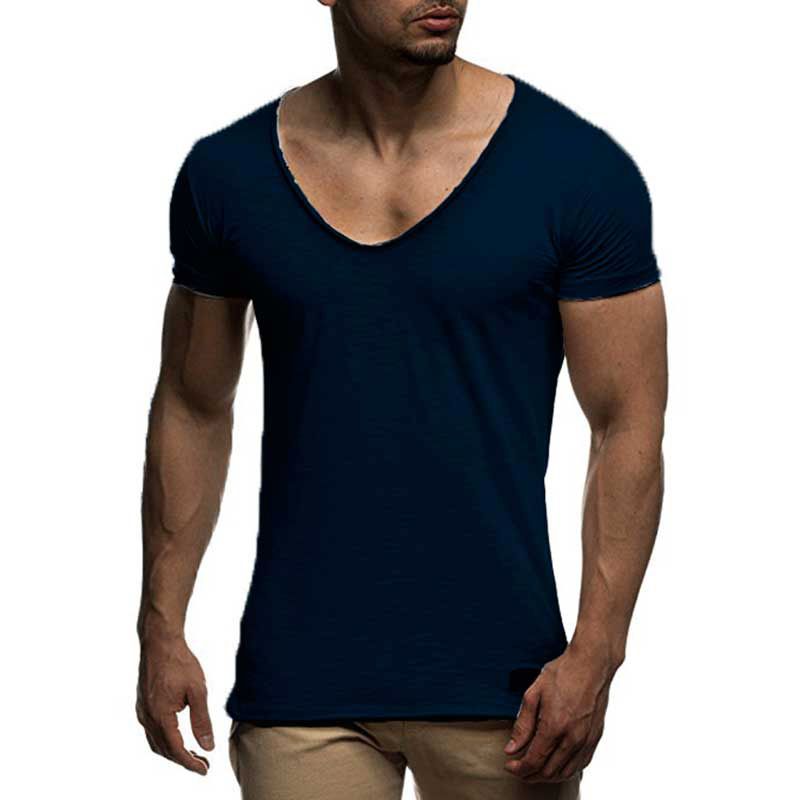 New Men Basic Tee Shirts V-neck Short Sleeve T-Shirt Tops Slim Fit Solid Casual