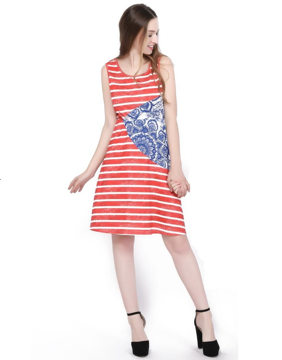 3XL Sexy Women Summer Dress Bohemian Maxi Womens Clothing Beach Sleeveless Dress Increase Size Red White Stripes Femme Vestidos