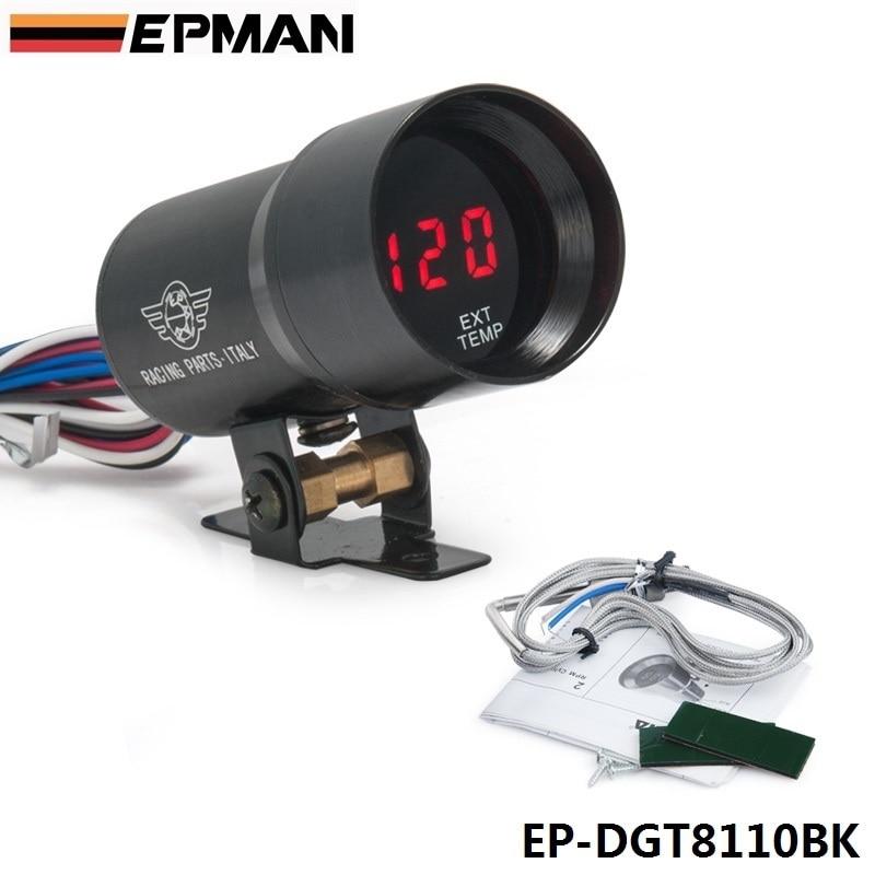 EPMAN-37mm Smoke Exhaust Gas Temperature EGT Gauge Red Digital Shift Light Style Meter Pod Red LED Black For BMW e3 EP-DGT8110BK