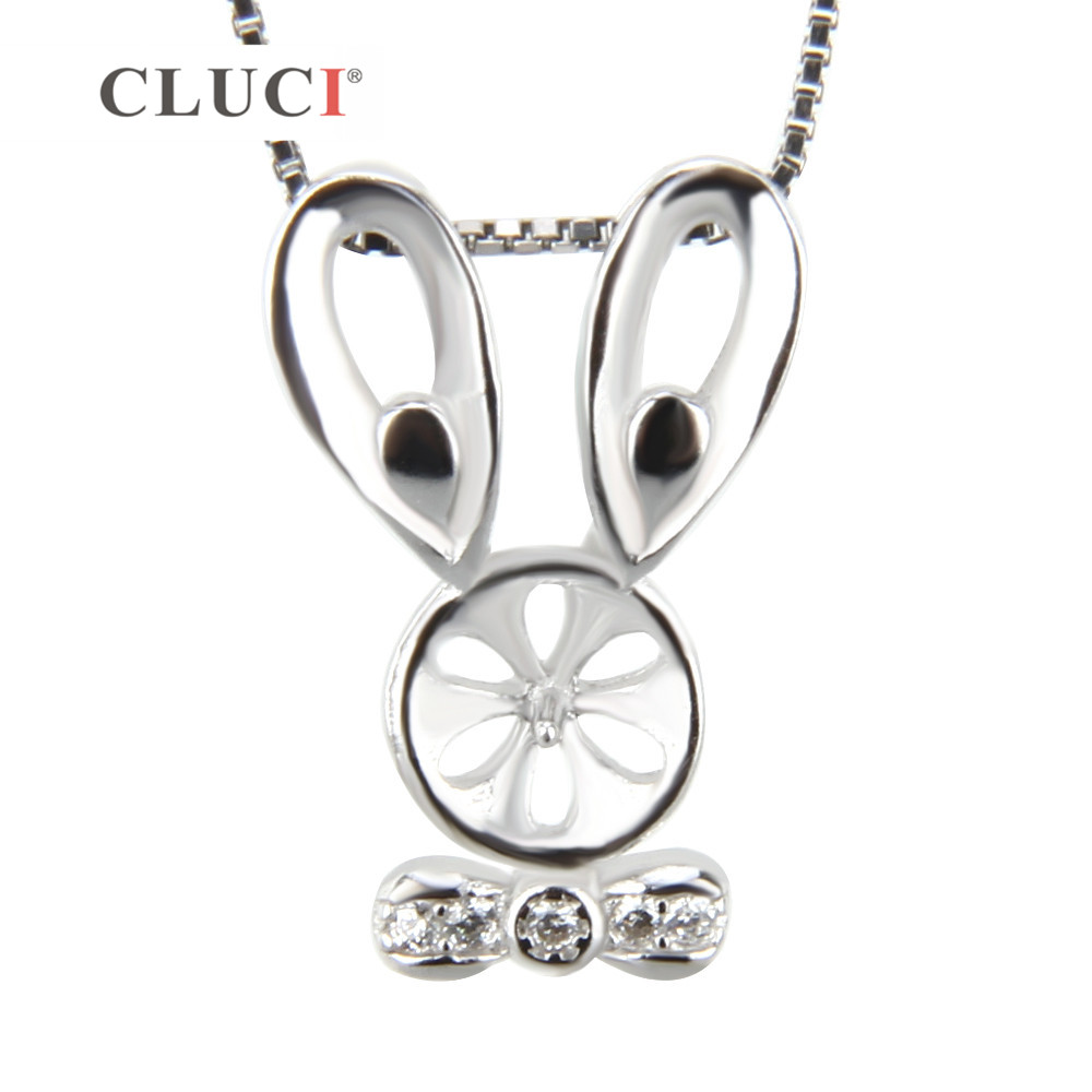 CLUCI 925 Sterling Silver Pearls Locket Pendant Accessories Jewelry Tie Rabbit Necklace Charms