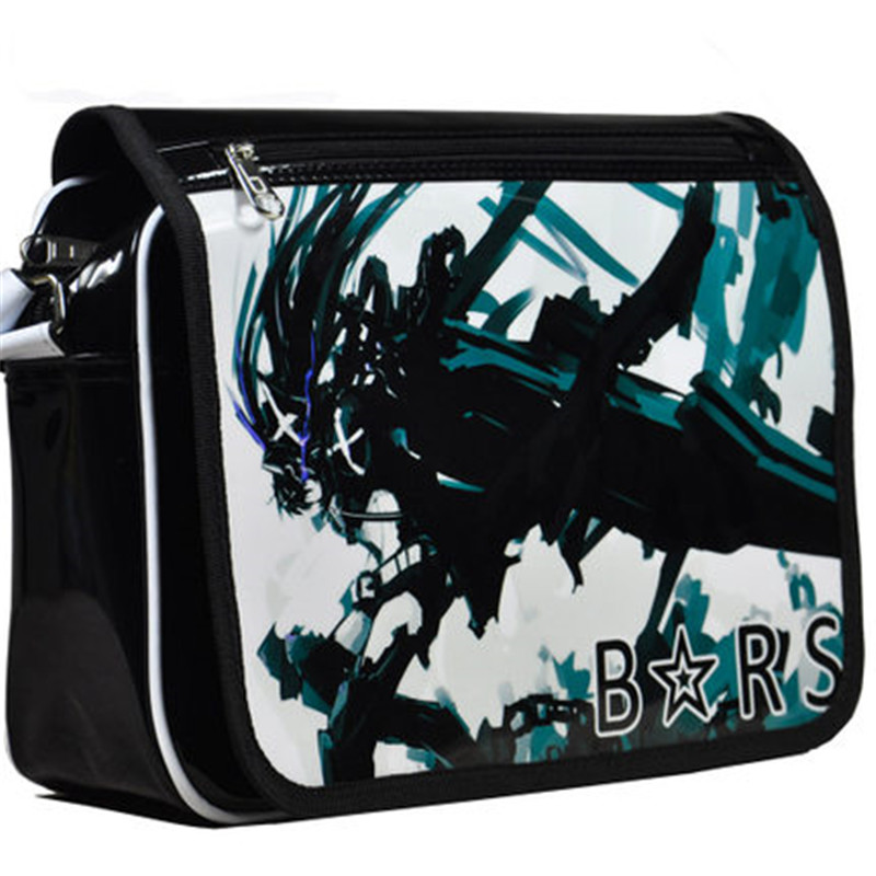 New Fashion Cartoon Black Rock Shooter Cosplay Student Book Bag Causal Teenager Shoulder Messenger Bag Free