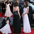 Romántico Kate Middleton A-line Plisado Sash Piso-longitud Gasa Vestido de Noche 2016 Celebrity Red Carpet Wl060