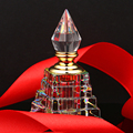 3ML Clear Vintage Pyramid Aurora Borealis K9 Crystal Refillable Woman Perfume Bottle Empty Container w/gold Trim Glass Dauber