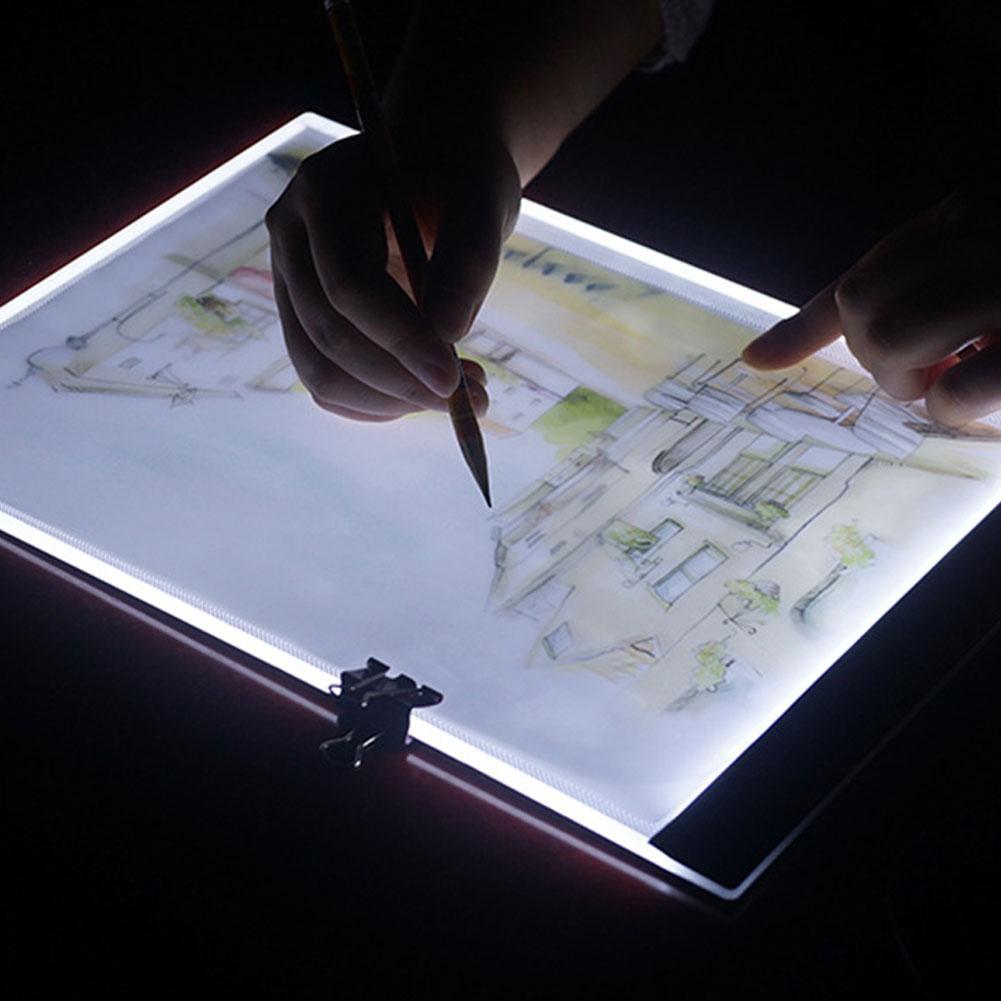 LanLan A4 dibujos LED luz Tablet Pad de carga USB Copyboard Junta mesa de luz pintura diamante Cruz puntada herramienta-25